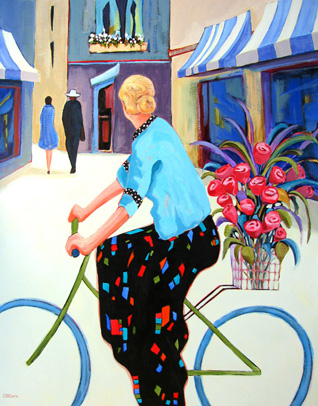 """Cycling Chic"" figure painting by Carolee Clark"