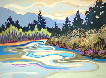 Bend in the River - painting by Carolee Clark