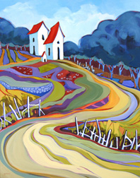 """Cover Crop Patterns"" landscape painting by Carolee Clark"